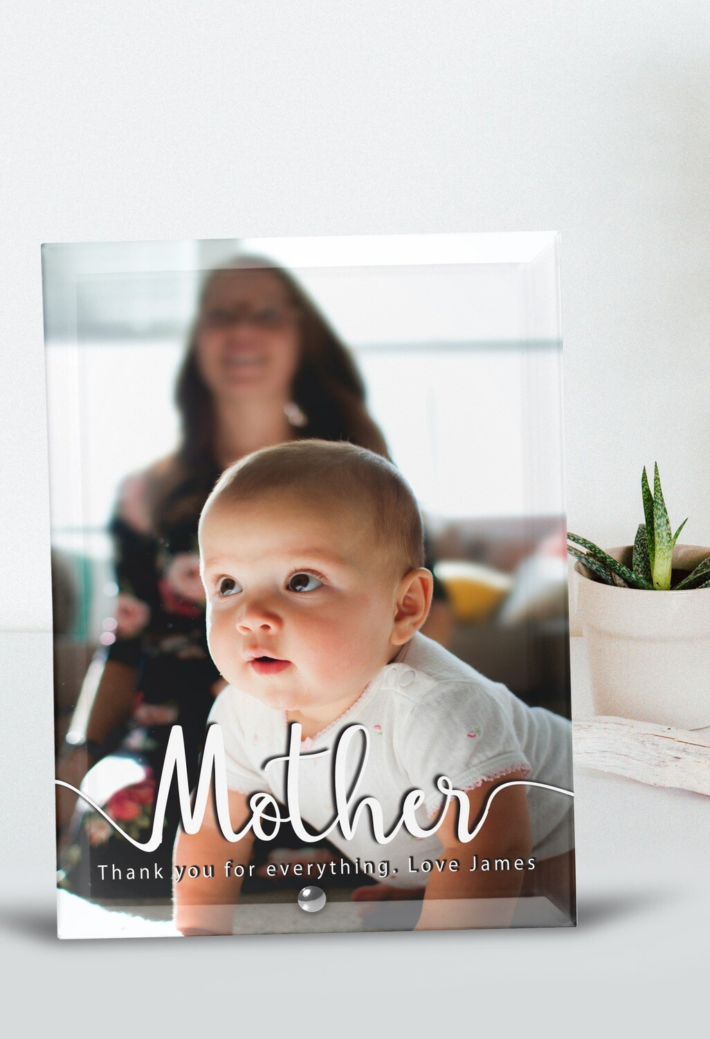 Personalized Mother Photo Glass Tile