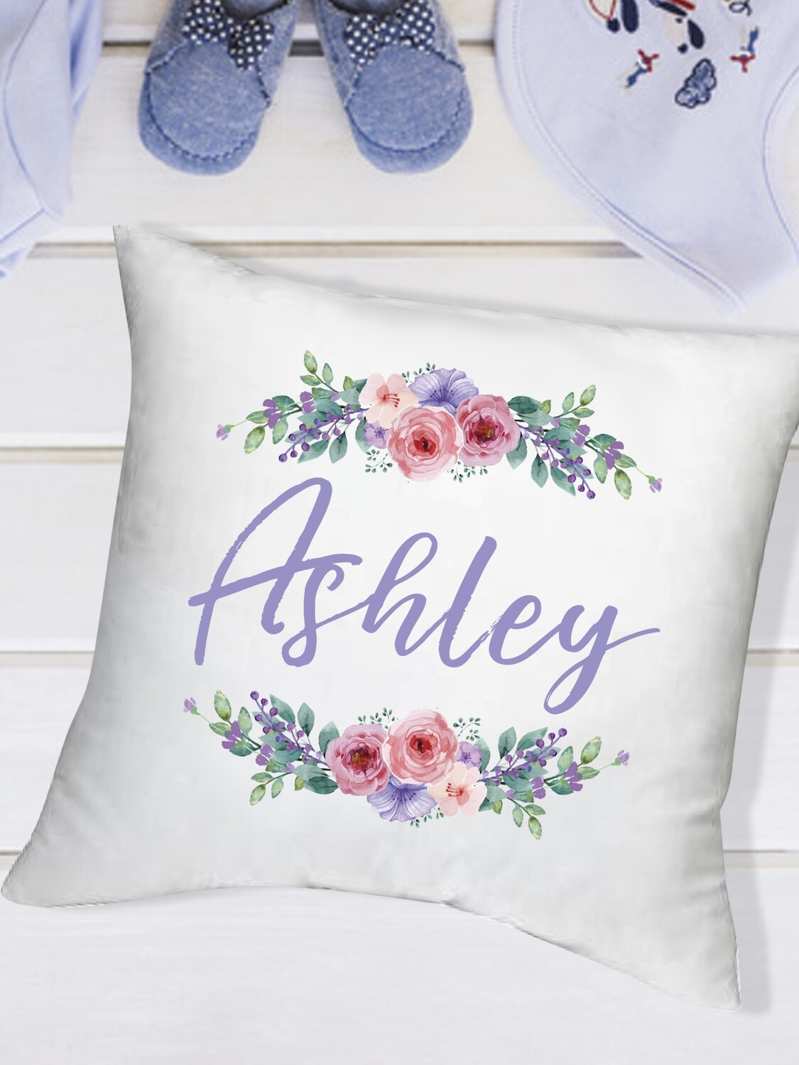Personalized Wreath Baby Scatter Cushion