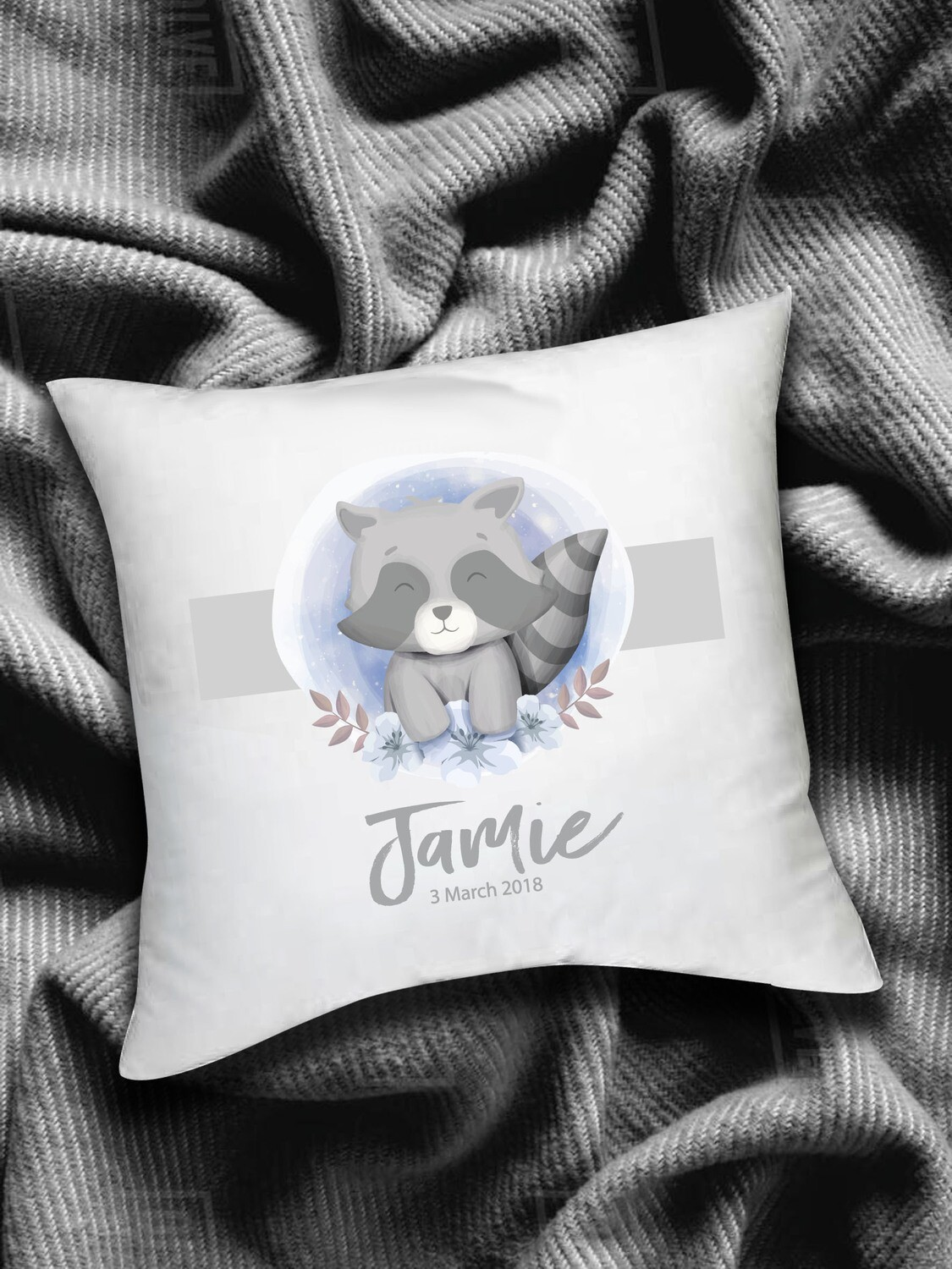 Personalized Racoon Baby Scatter Cushion