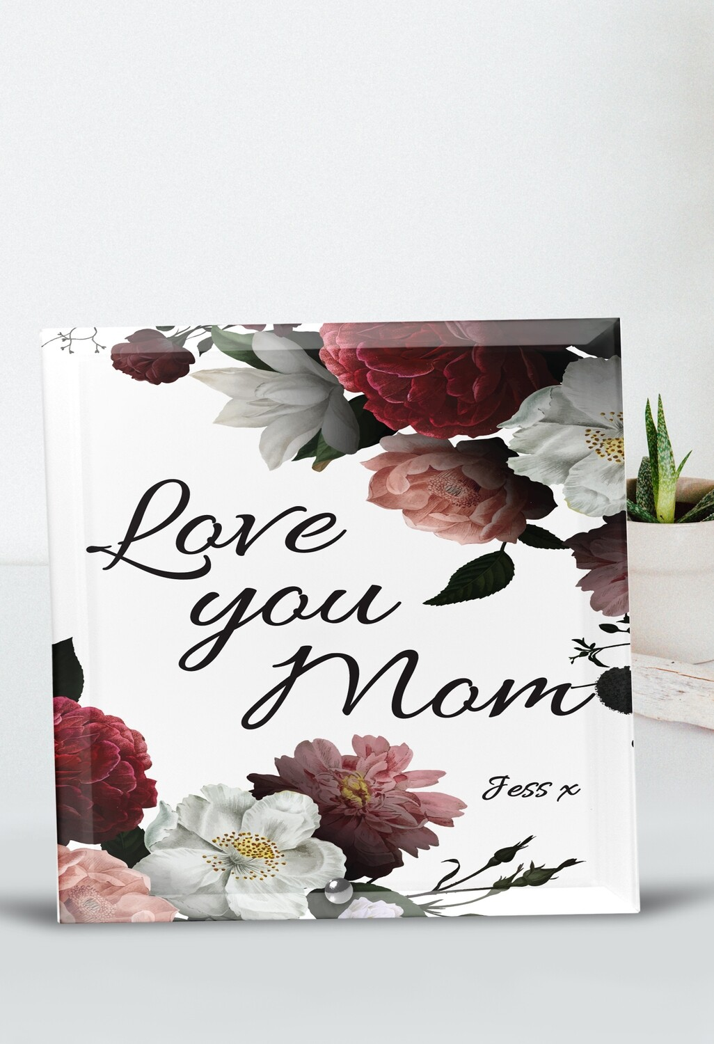 Personalized Floral Mom Glass Tile