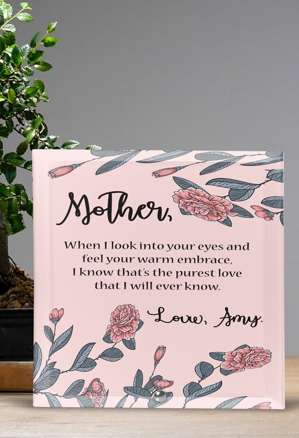 Personalized Pink Glass Tile