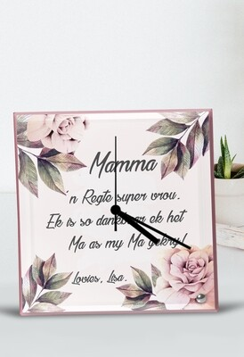 Personalized Pink Floral Glass Clock