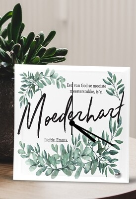 Personalized Moederhart Glass Clock