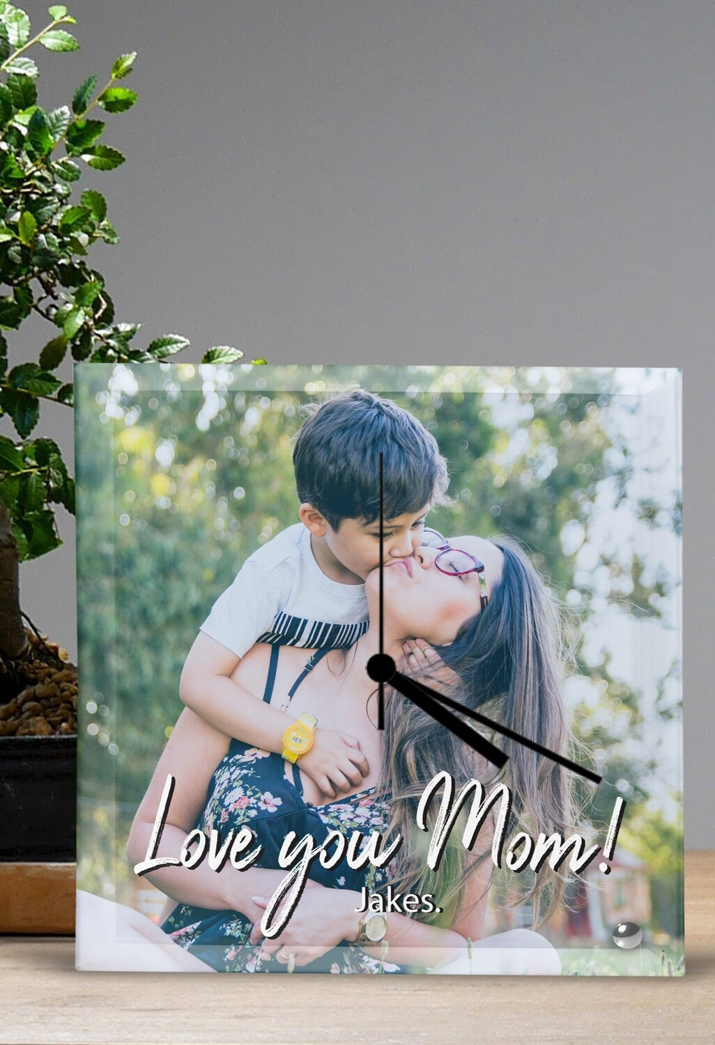 Personalized Photo & Message Glass Clock