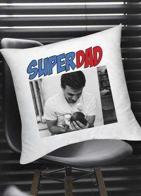 Personalized Super Dad Photo Scatter Cushion