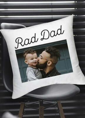 Personalized Rad Dad Photo Scatter Cushion