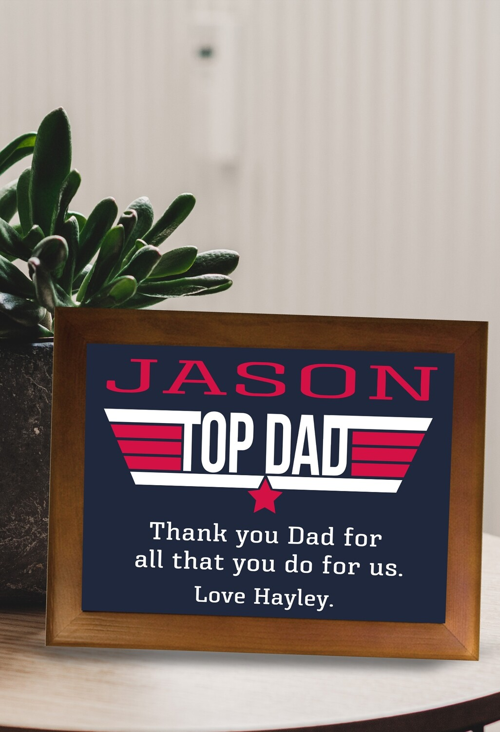 Personalized Top Dad Framed Ceramic Tile