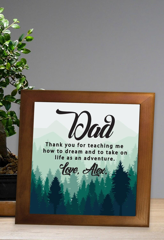 Personalized Adventure Dad Framed Ceramic Tile
