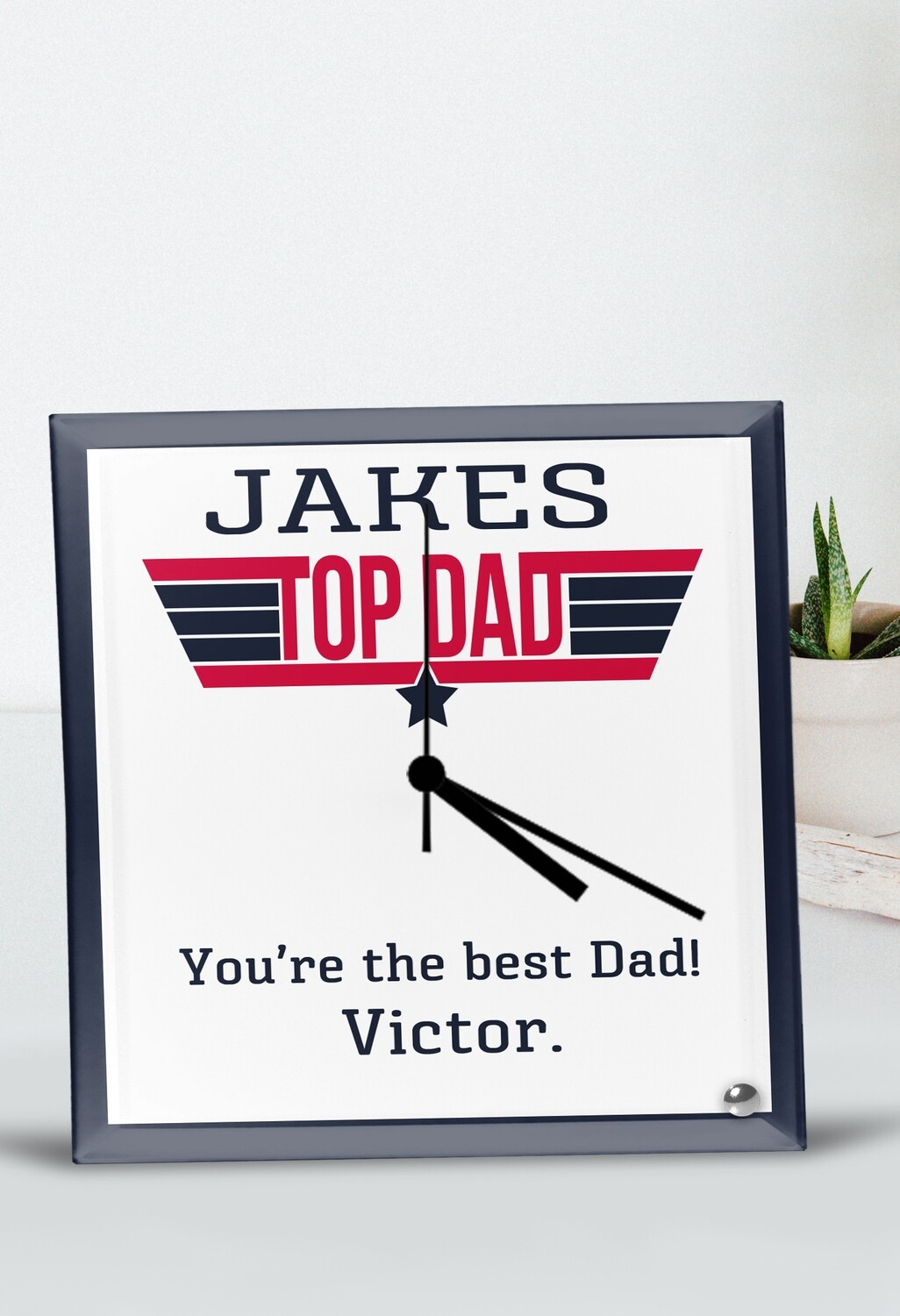 Personalized Top Dad Glass Clock