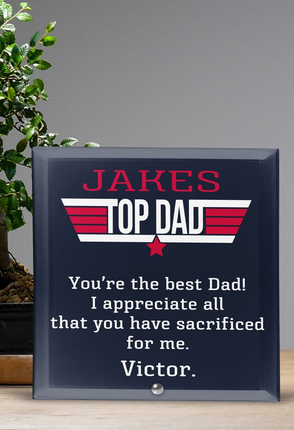 Personalized Top Dad Glass Tile
