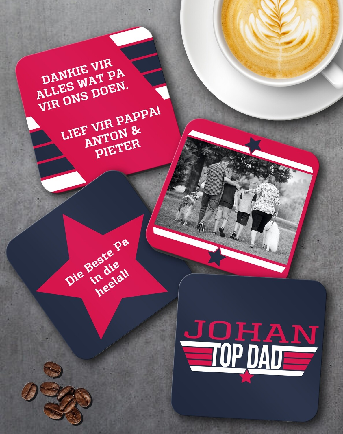 Personalized Top Dad Coaster Set of 4