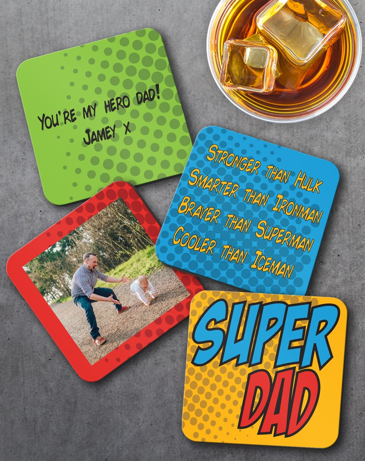 Personalized Super Dad Coaster Set of 4