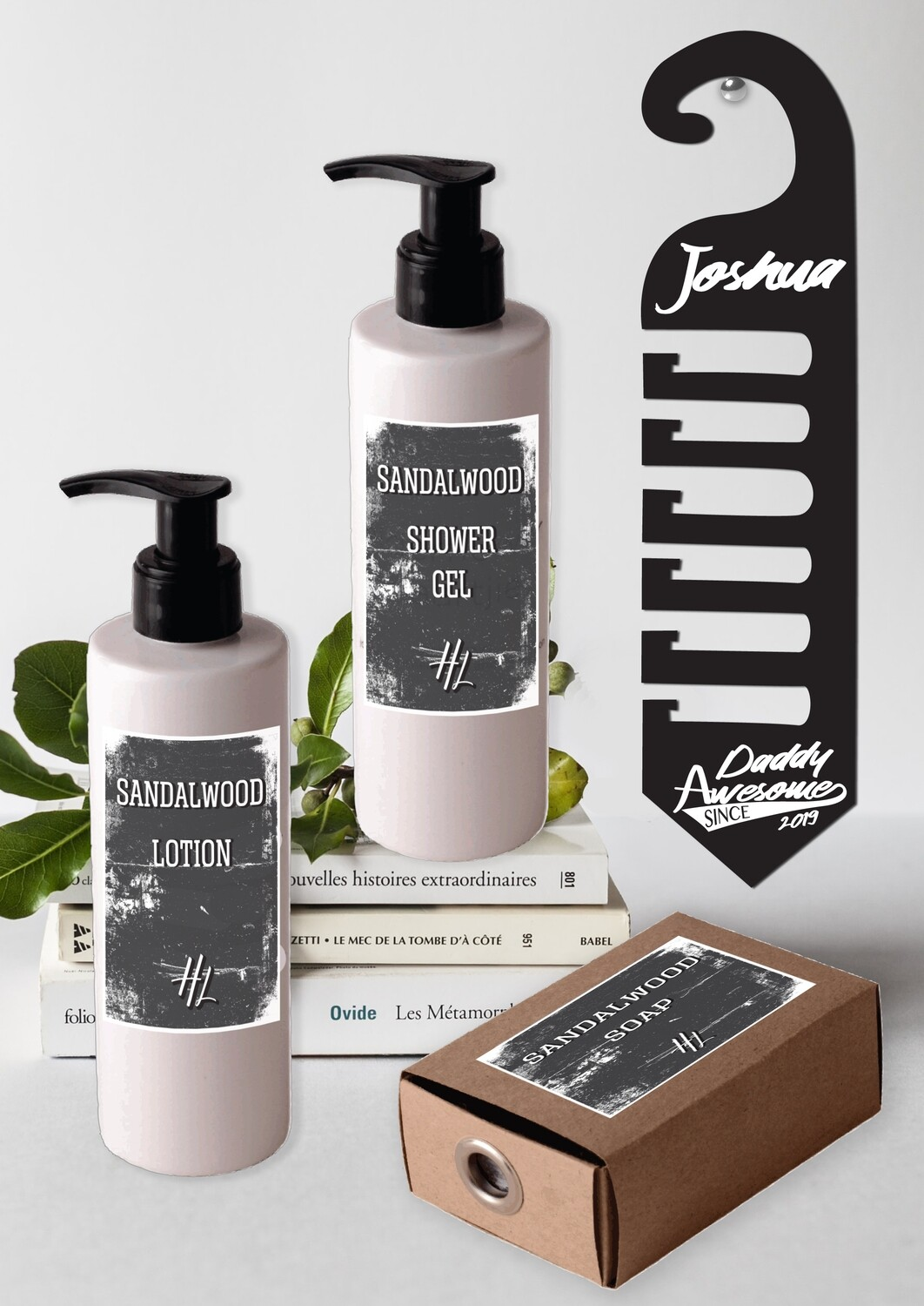 Personalized Daddy Awesome Tie Hanger & Body Care