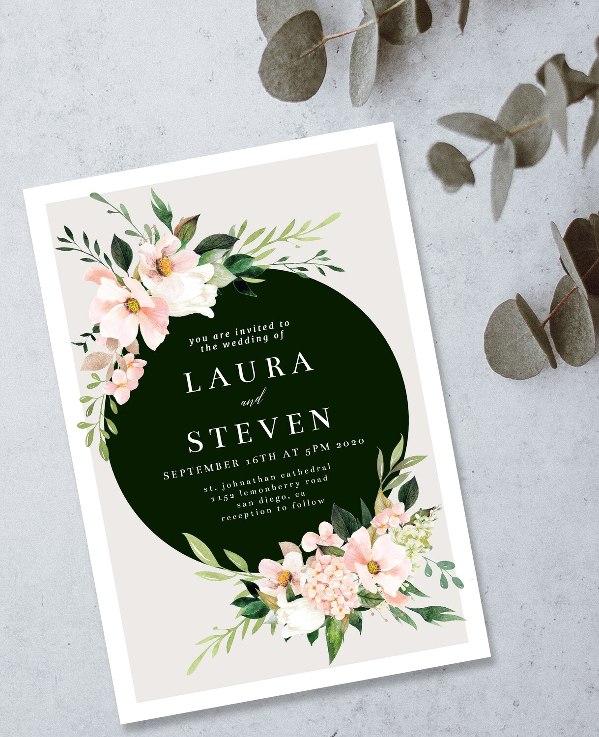 Personalized Floral Wedding Invite & Save The Date