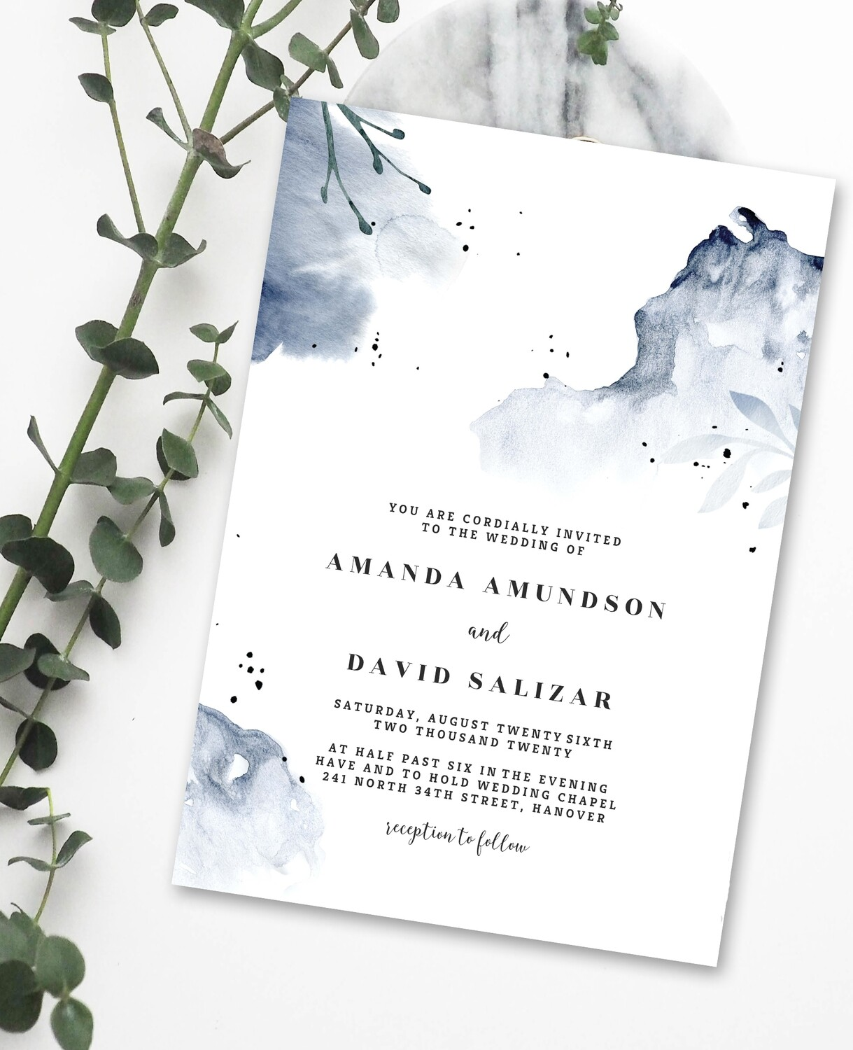 Personalized Blue Water Colour Wedding Invite & Save The Date