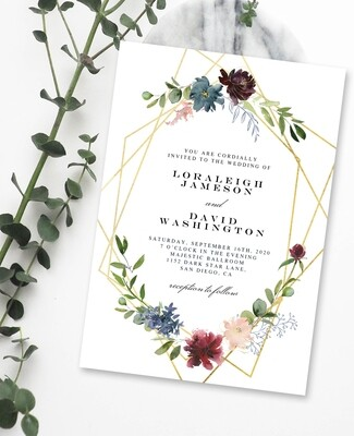 Personalized Gold Floral Wedding Invite & Save The Date