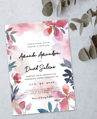 Personalized Floral Water Colour Wedding Invite & Save The Date