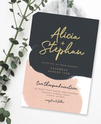 Personalized Black & Blush Wedding Invite & Save The Date