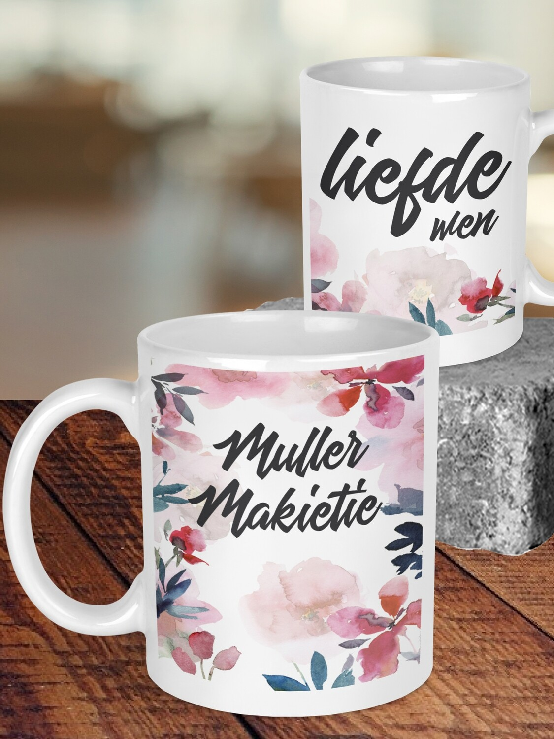 Personalized Watercolour Wedding Mug