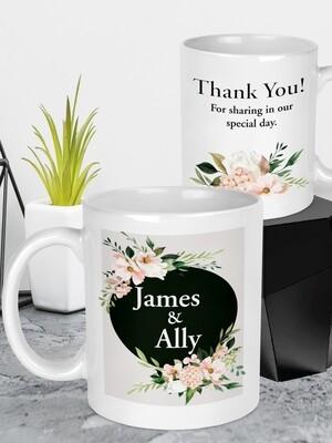 Personalised Floral Wedding Mug