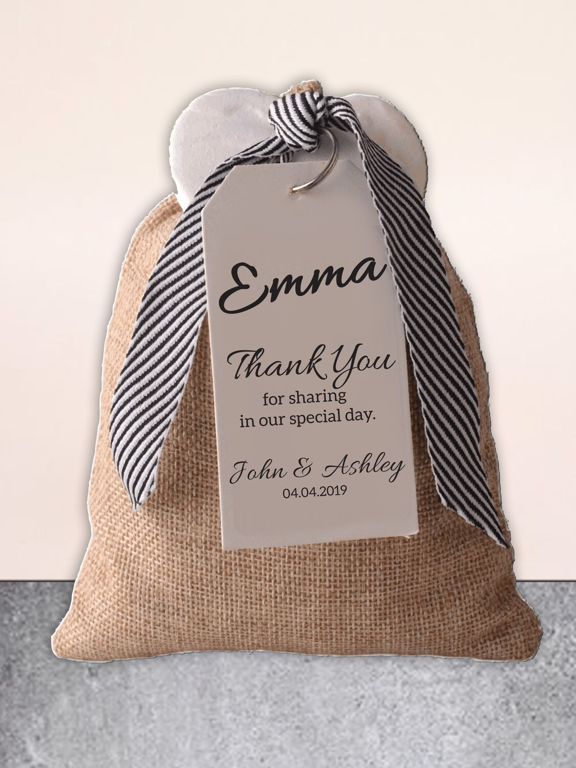 Personalised Scented Bag & Ceramic Heart Wedding Gift
