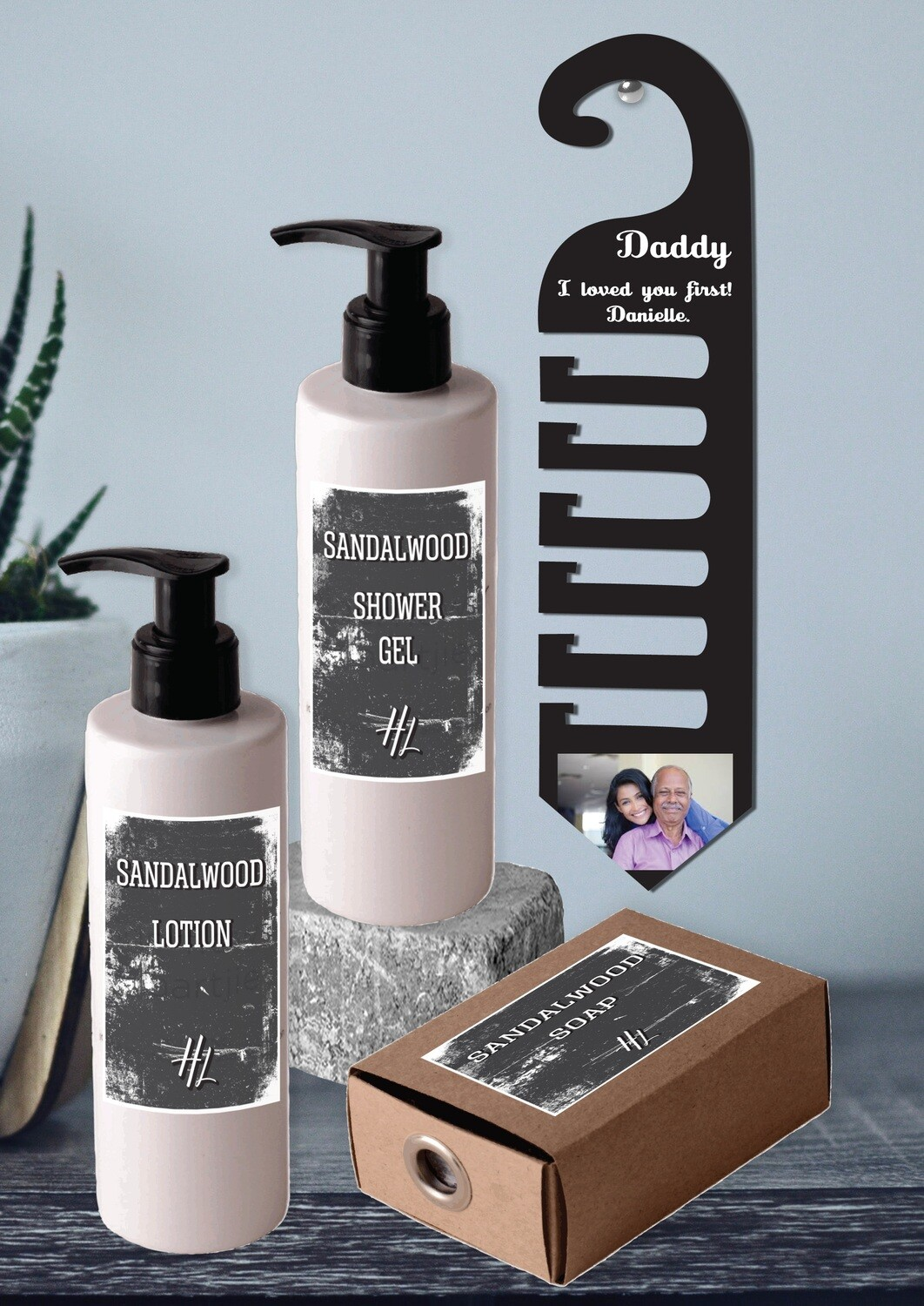 Personalized Photo Tie Hanger & Body Care