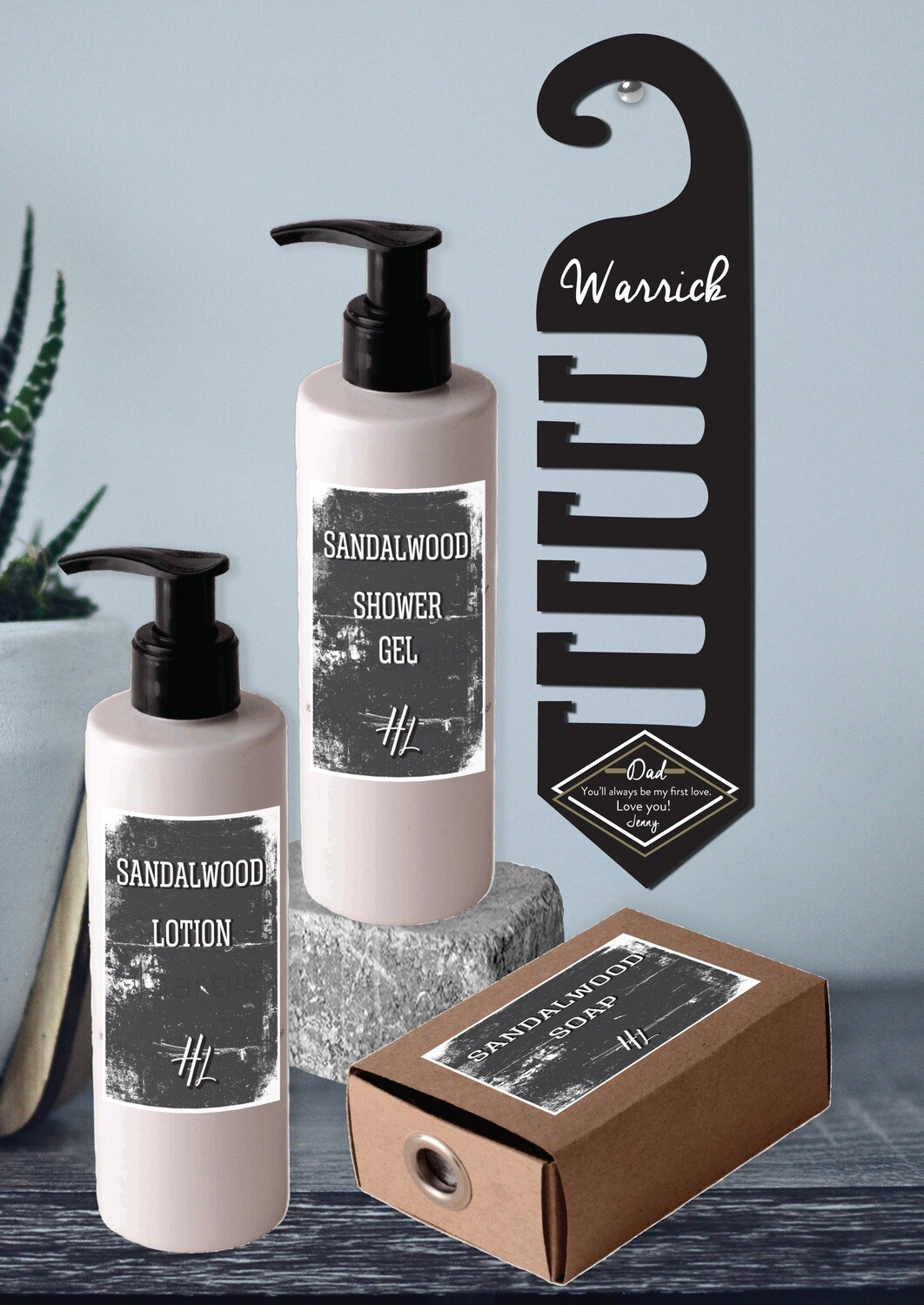 Personalized Tie Hanger & Body Care