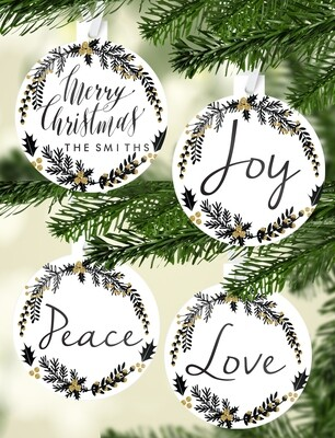 Personalised Black & Gold Christmas Ornaments