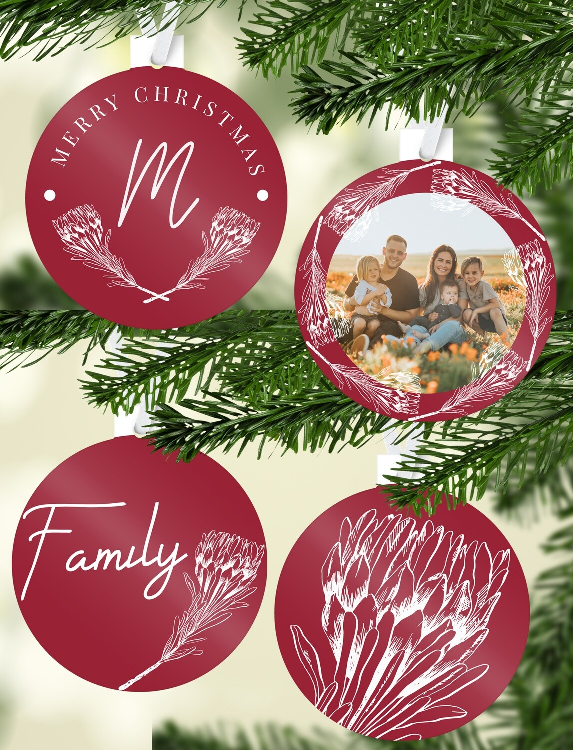 Personalised Protea Christmas Ornaments
