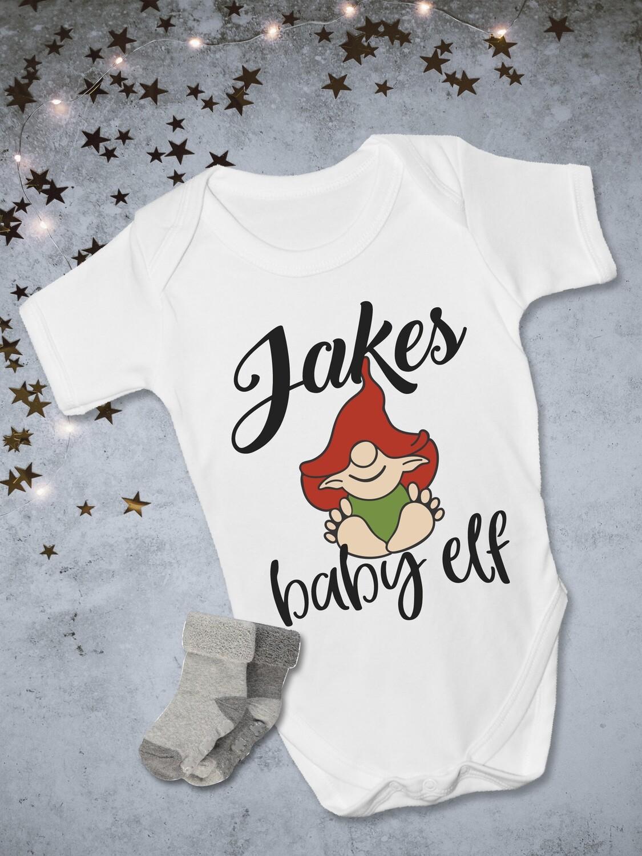 Personalised Baby Elf Christmas Onesie