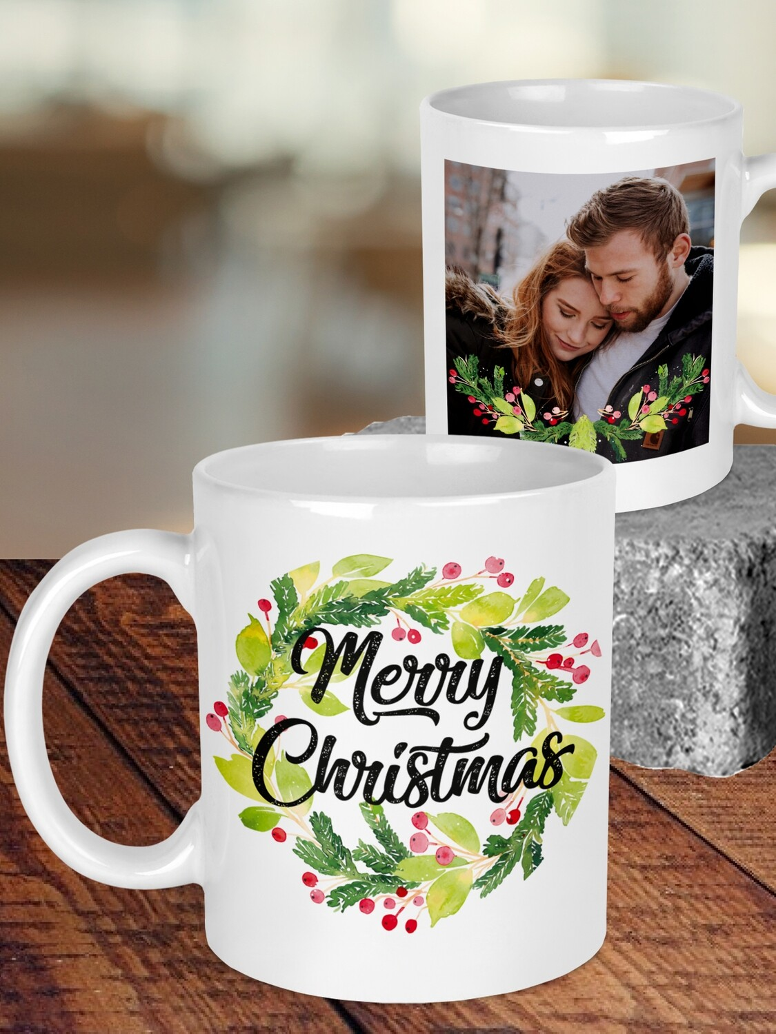 Personalised Christmas Wreath Mug