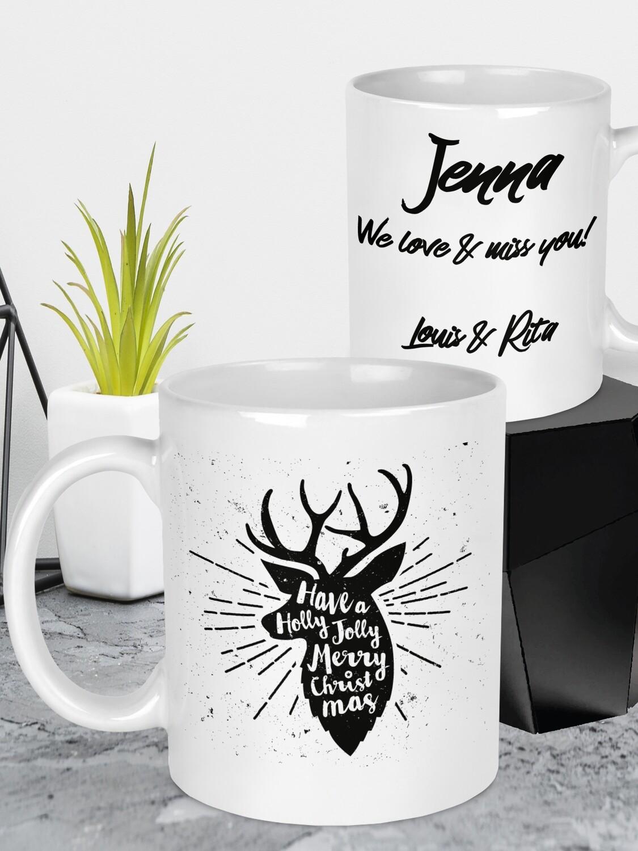 Personalised Christmas Deer Mug