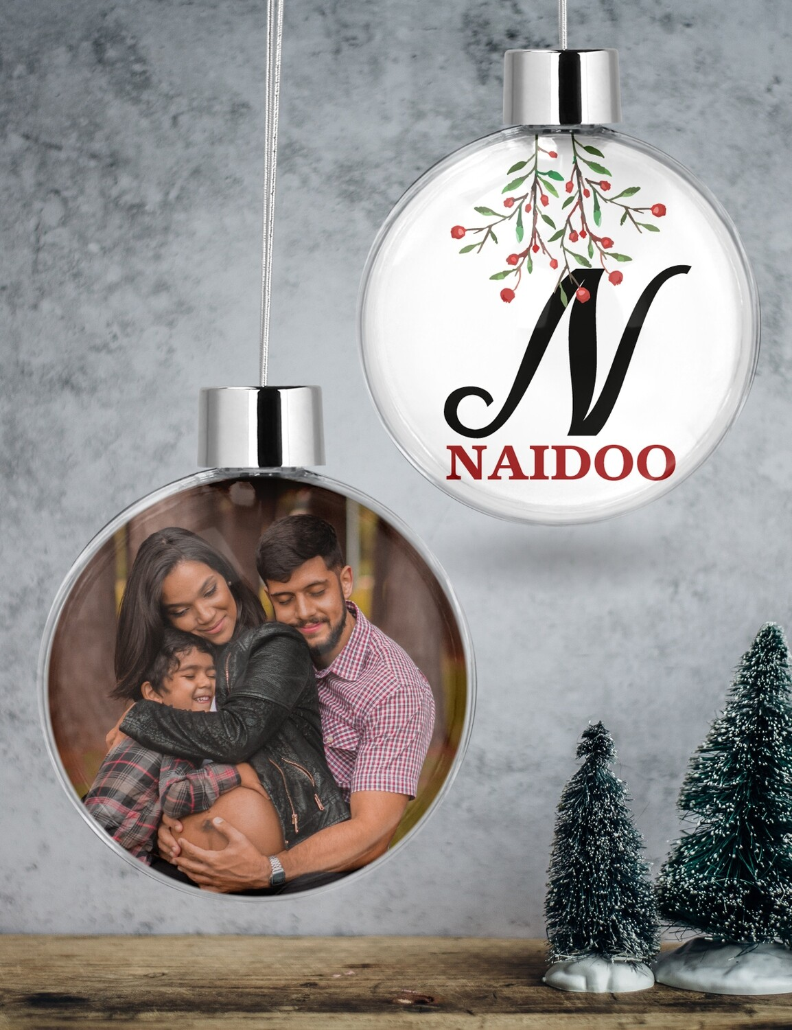 Personalised Family Clear Christmas Bauble