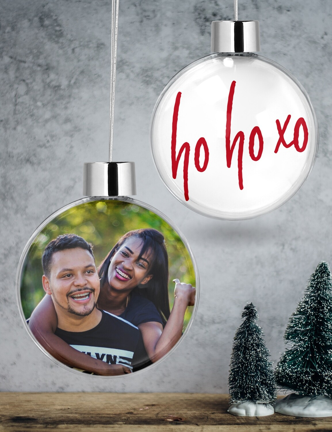Personalised Hugs & Kisses Clear Christmas Bauble
