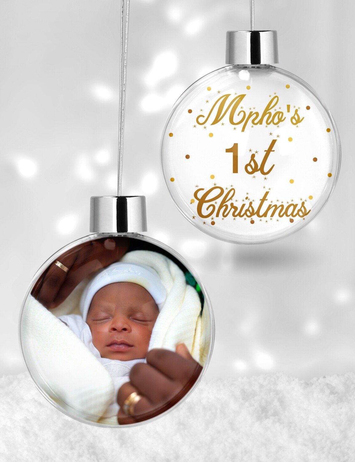 Personalised 1st Christmas Clear Bauble