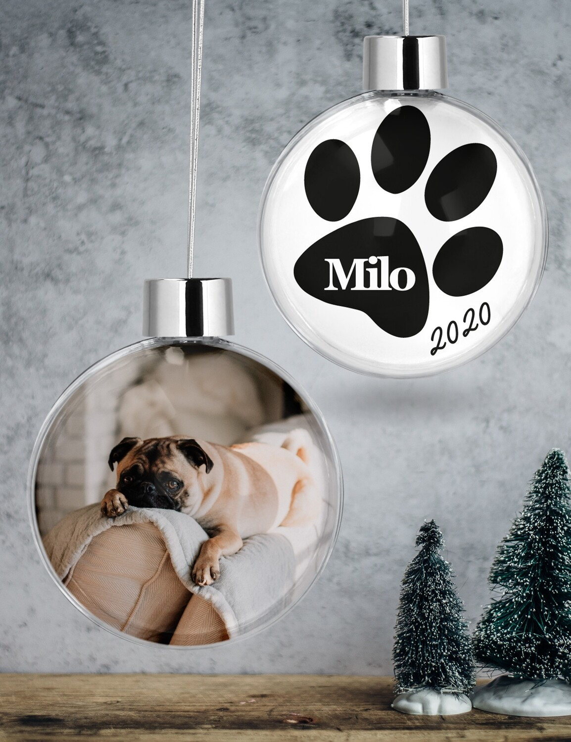 Personalised Pet Clear Christmas Bauble