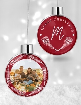 Personalised Protea Clear Christmas Bauble