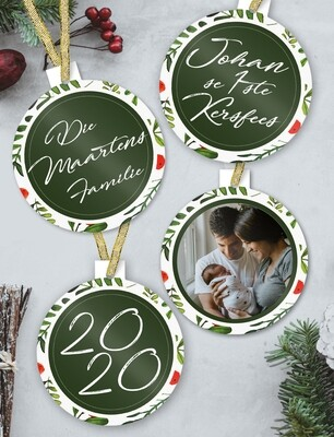 Personalised Green Christmas Ornaments