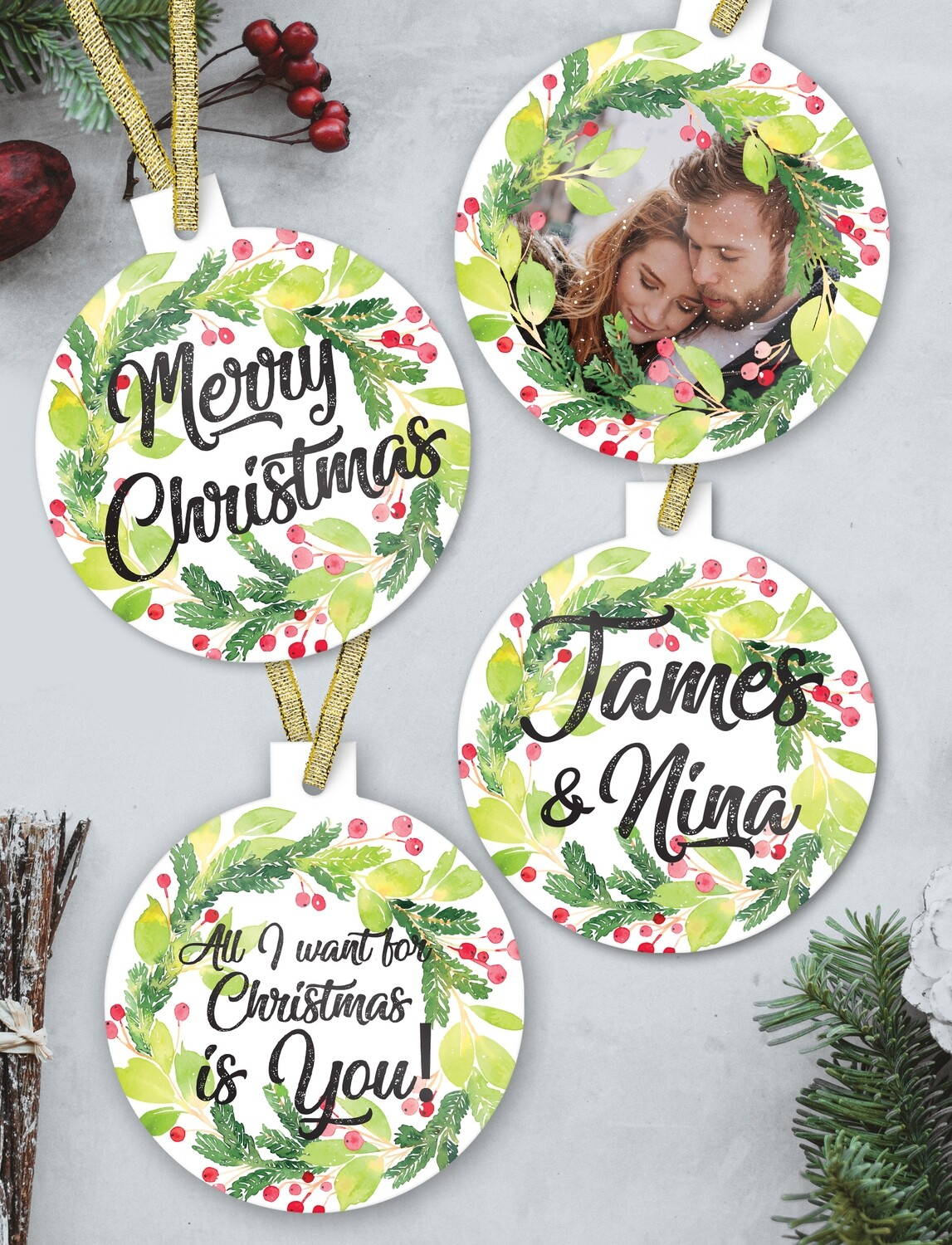 Personalised Wreath Christmas Ornaments