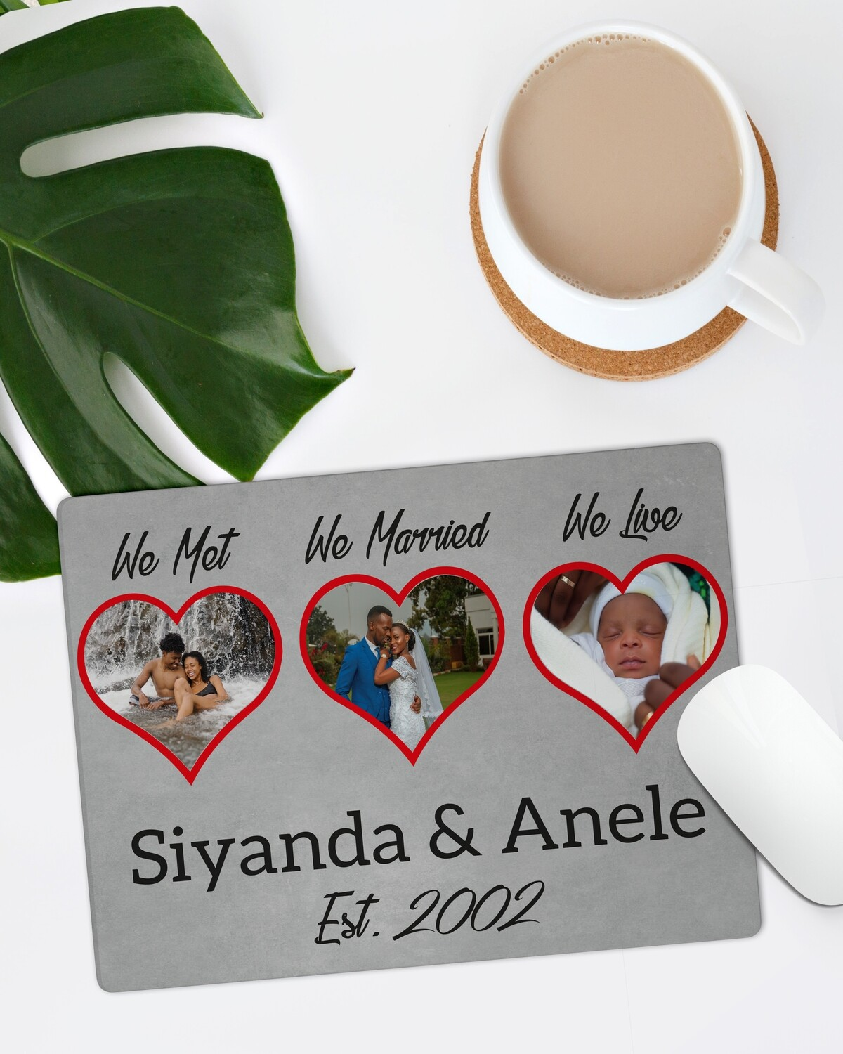Personalised Hearts Mouse Pad