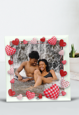 Personalised Heart Frame Glass Tile