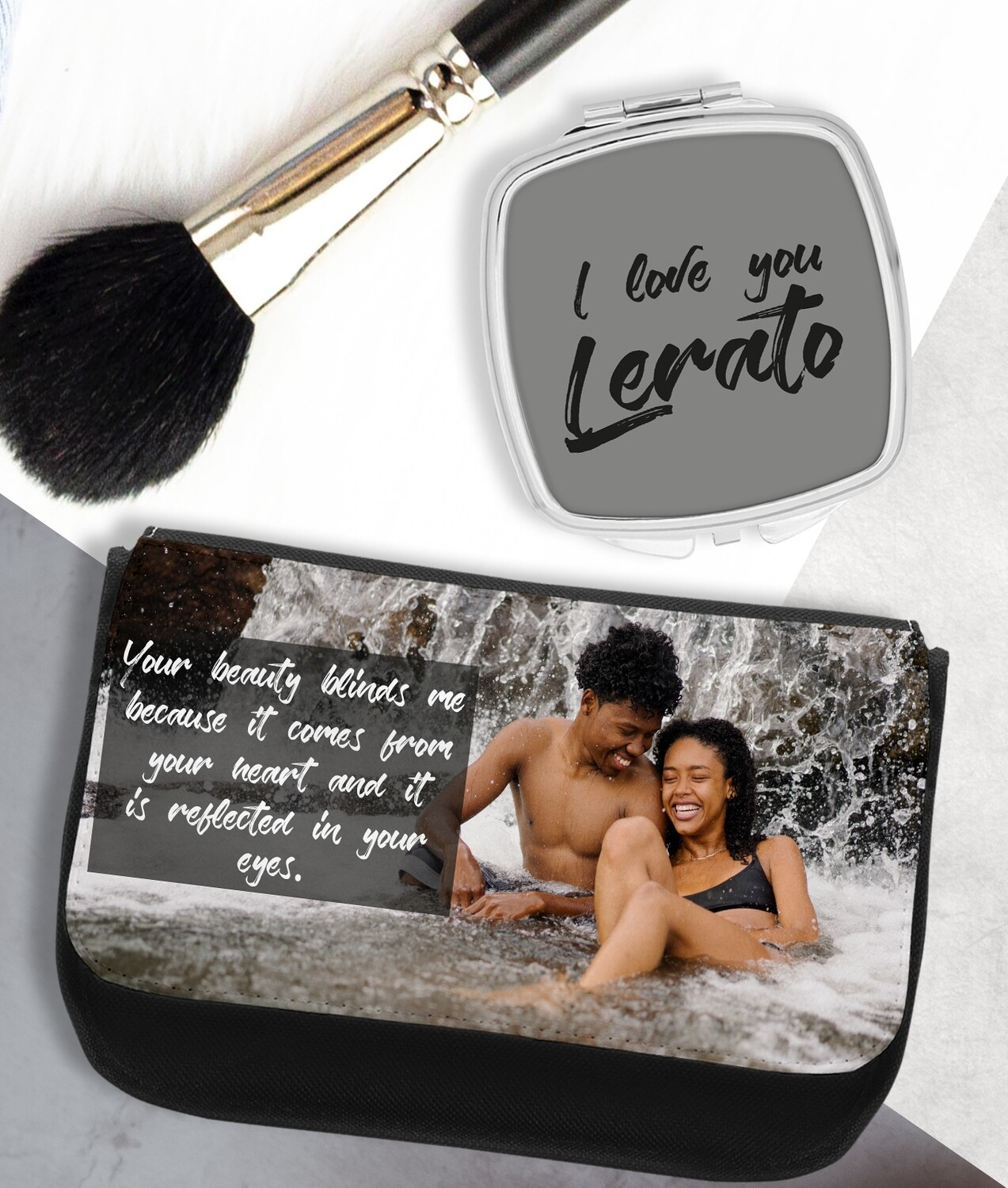 Personalized Photo Mirror & Cosmetic Bag