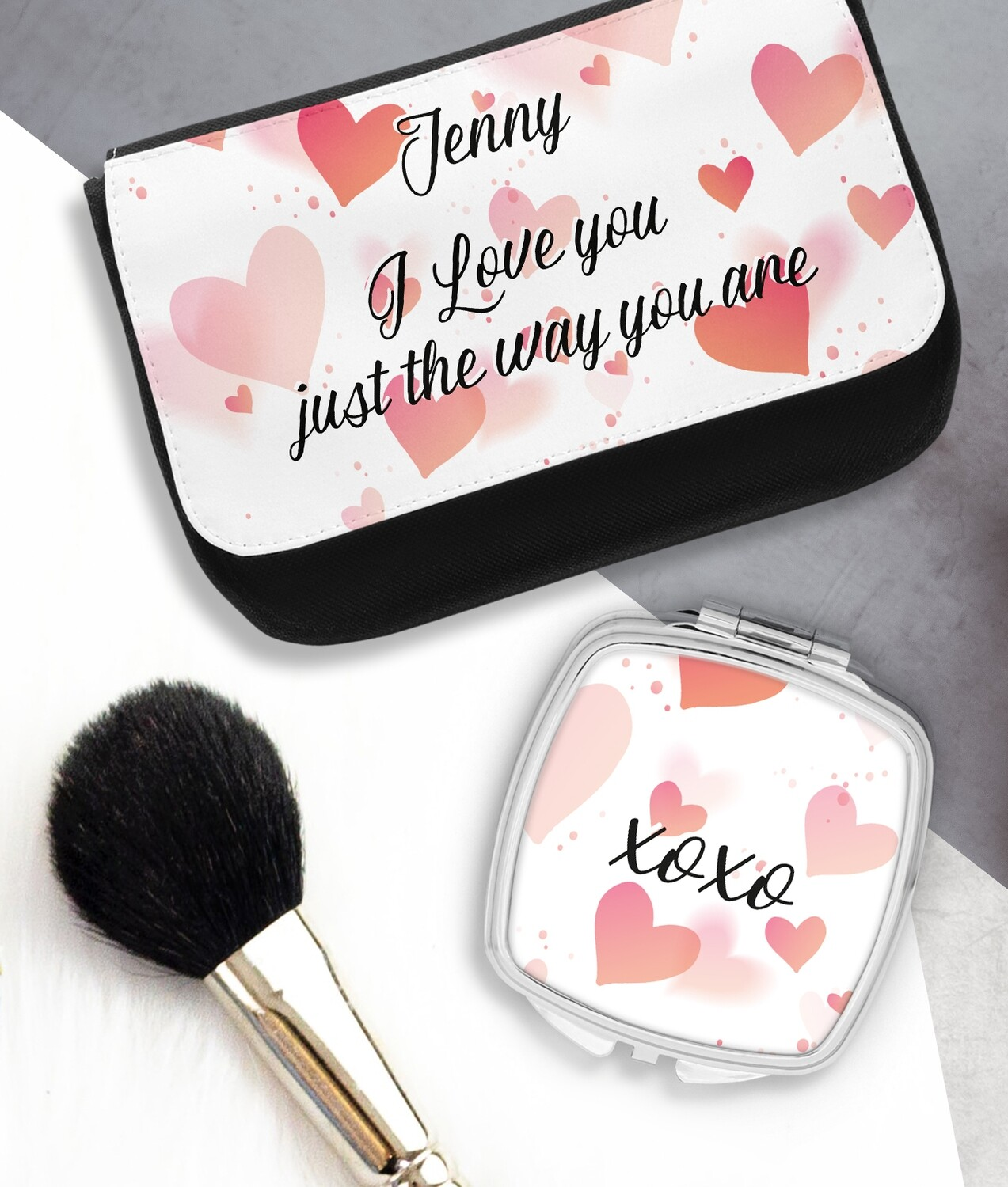 Personalized Hearts Mirror & Cosmetic Bag