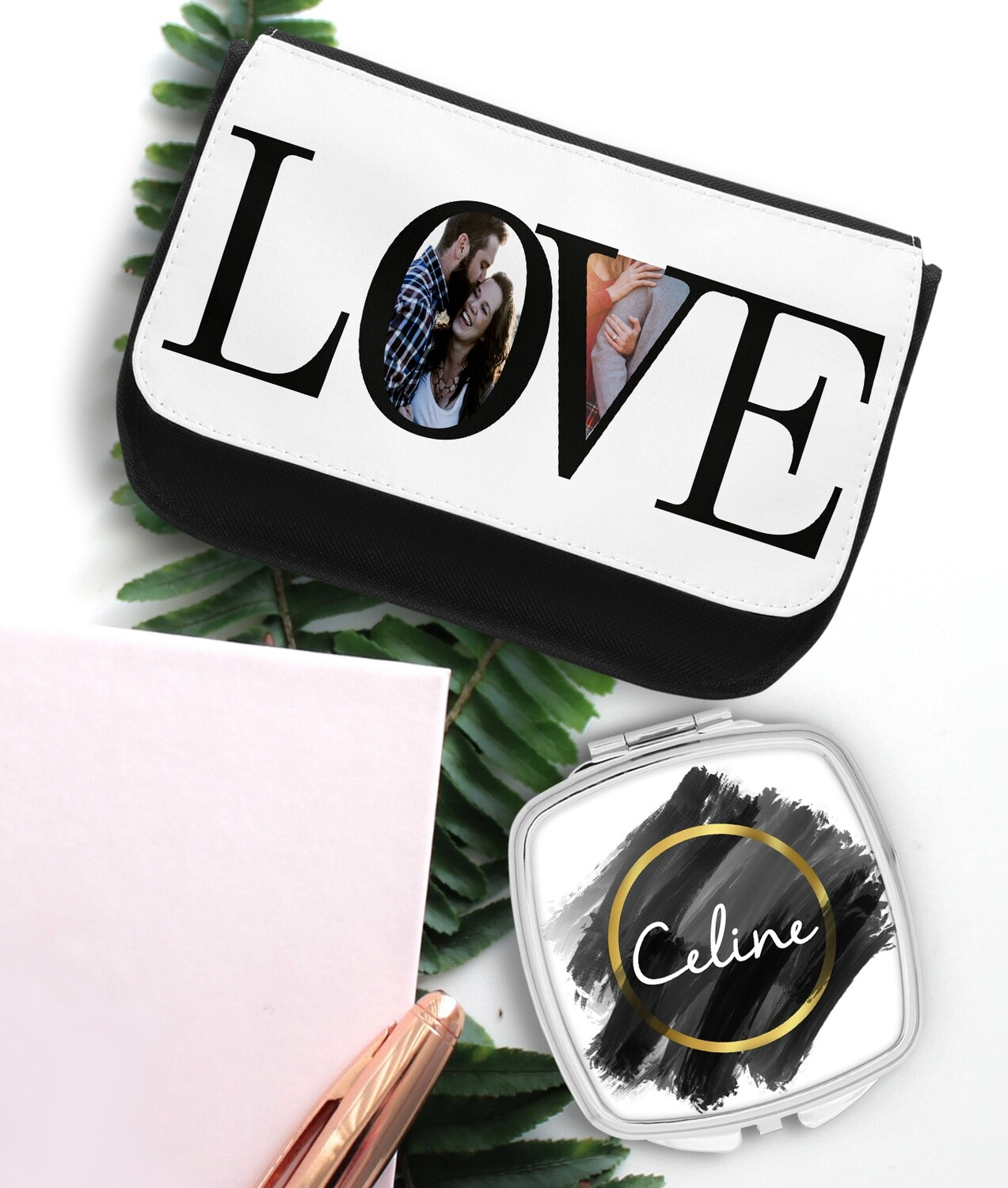 Personalized LOVE Mirror & Cosmetic Bag