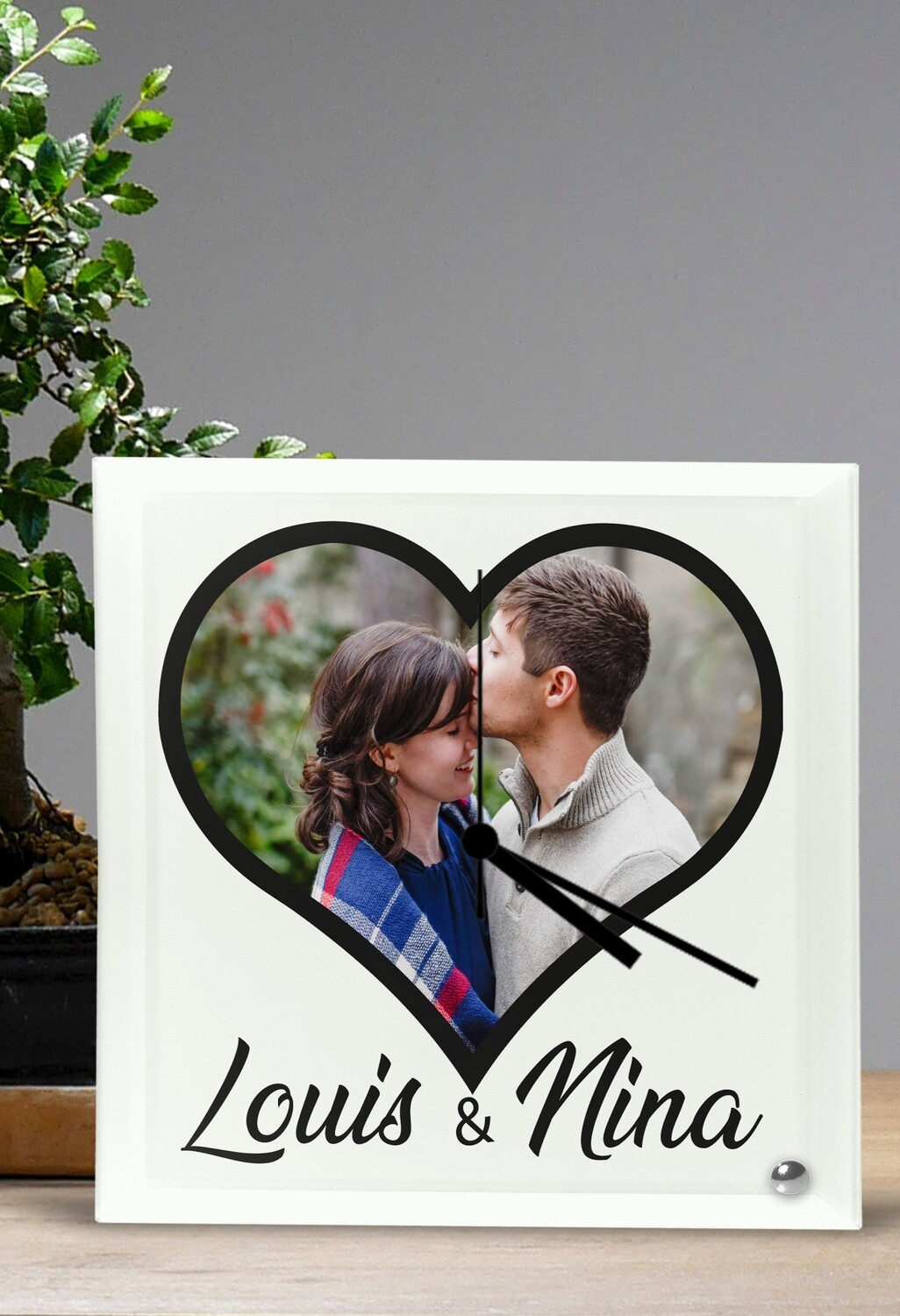 Personalized Hearted Photo Glass Clock