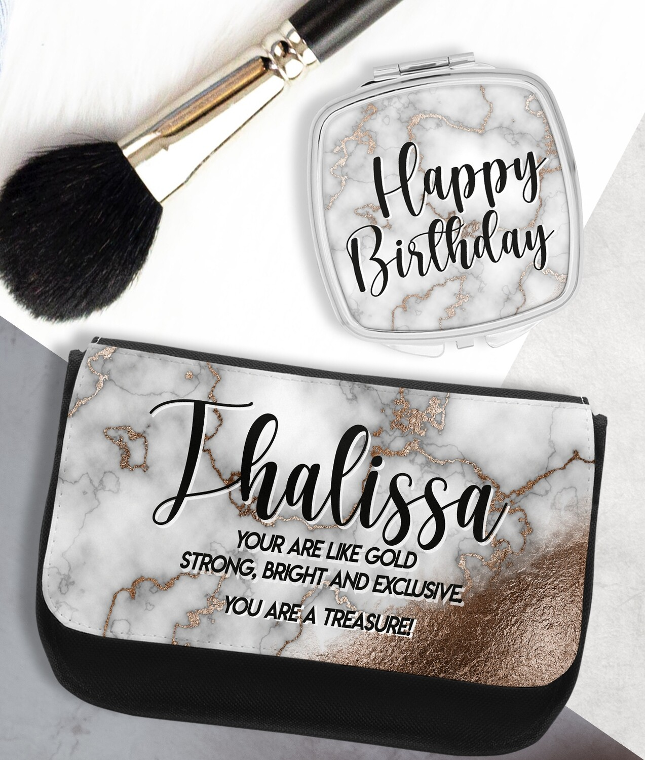 Personalized Marble Mirror & Cosmetic Bag