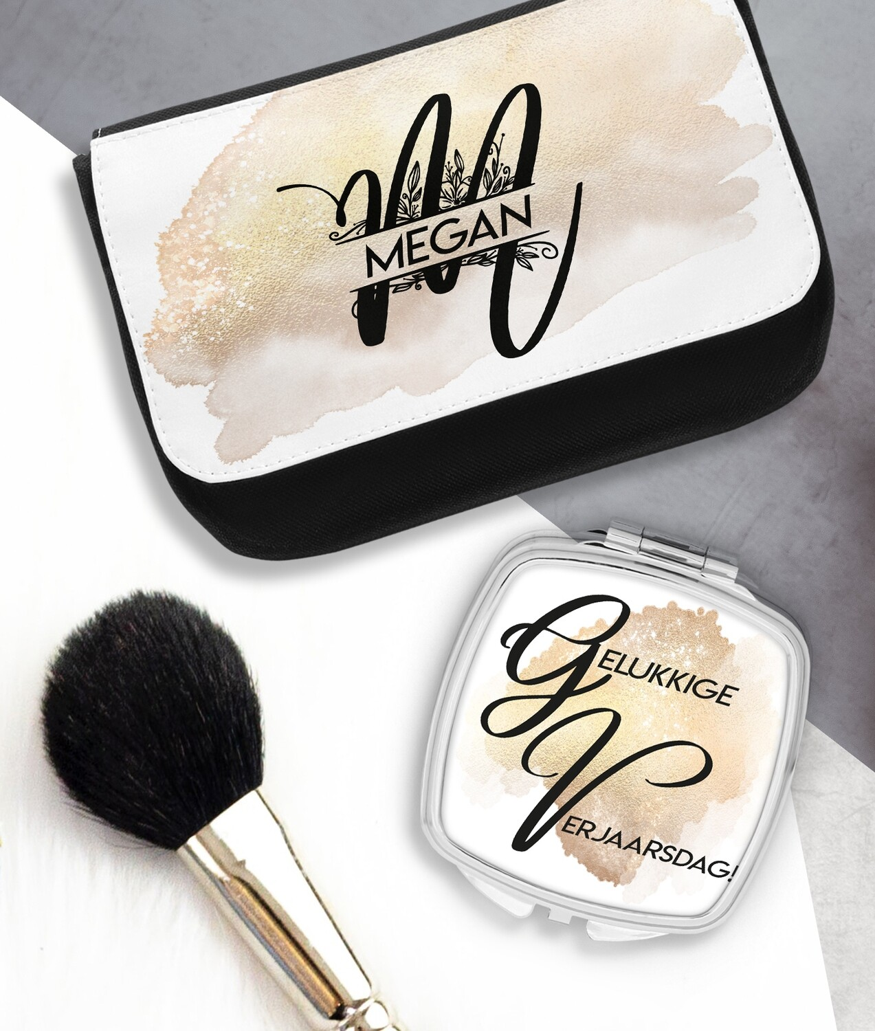Personalized Gold Mirror & Cosmetic Bag