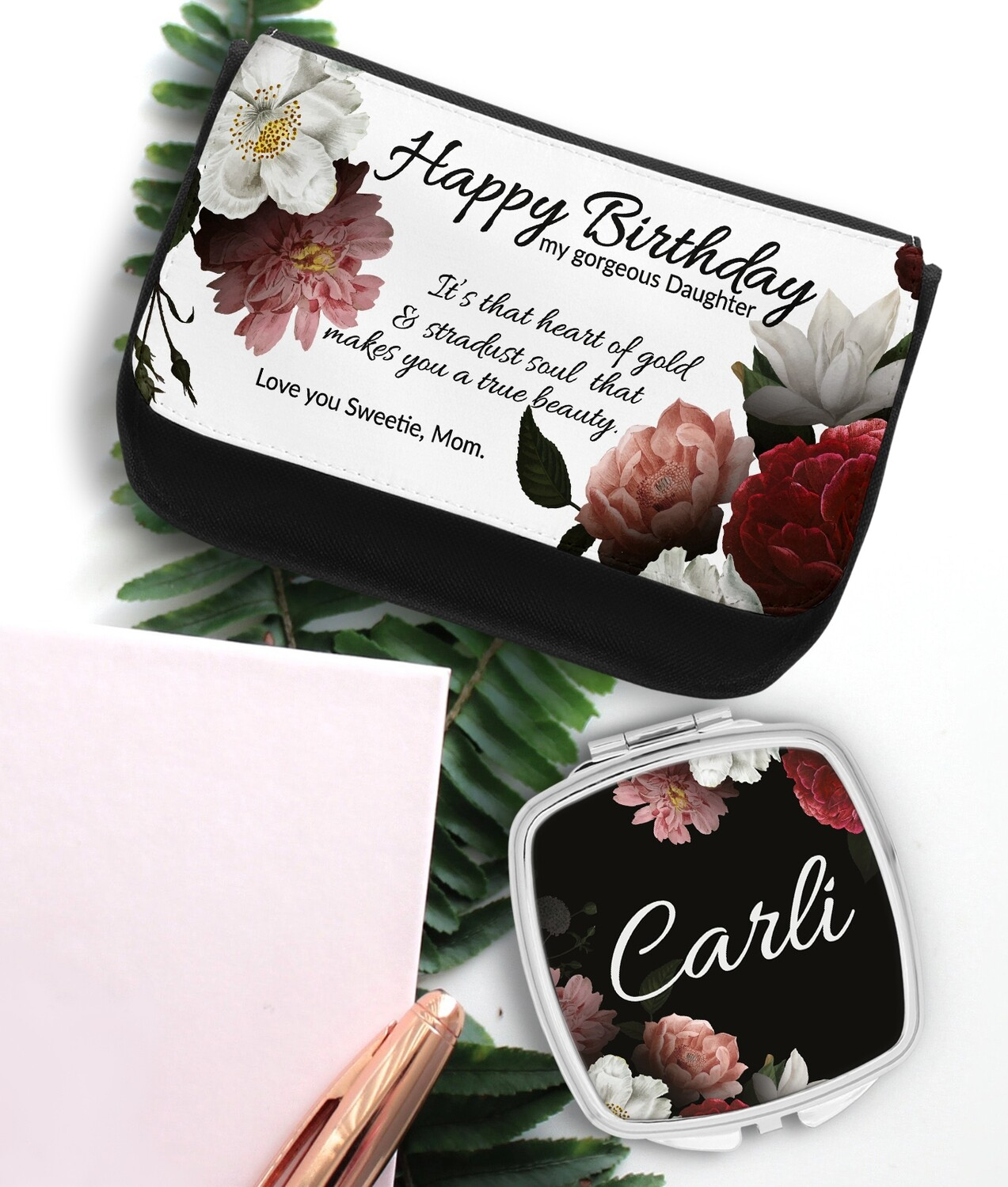 Personalized Floral Mirror & Cosmetic Bag