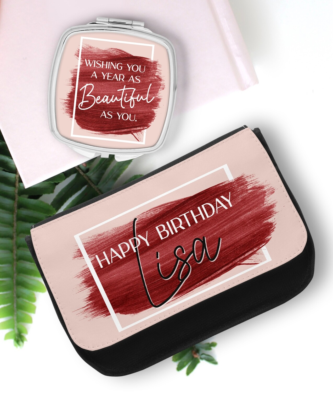 Personalized Brush Stroke Mirror & Cosmetic Bag