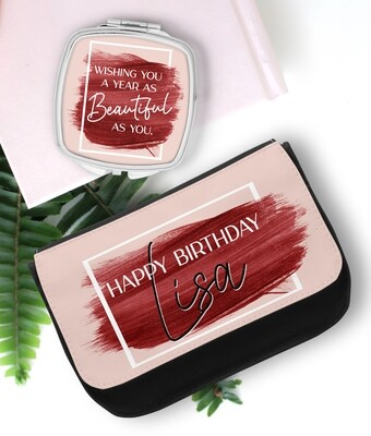 Personalized Brush Stroke Mirror & Cosmetic Bag